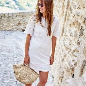 Boden White Embroidered Heidi Tunic Dress